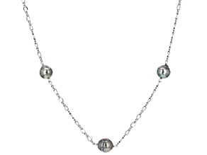 Cultured Tahitian Pearl Rhodium Over Silver Necklace 8-10mm