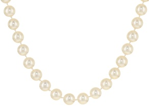 9-9.5mm Cultured Japanese Akoya Pearl 14k Yellow Gold Necklace