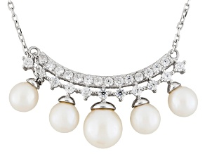 Cultured Freshwater Pearl, Diamond Simulant Rhodium Over Silver Necklace 5.5-8mm