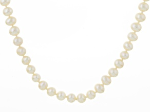 White Cultured Freshwater Pearl Rhodium Over Silver Strand Necklace 6-6.5mm