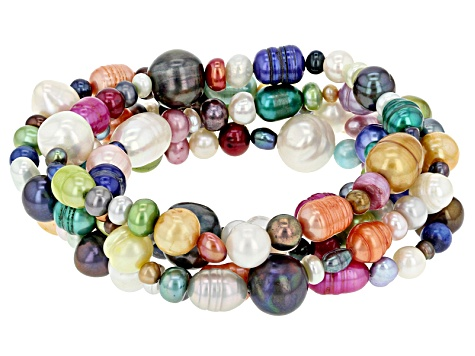 Cultured Freshwater Pearl Stretch Bracelet Set Of 5 3.5-8mm