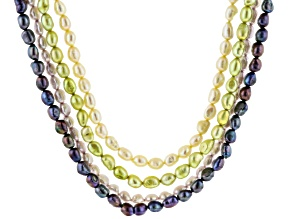 Cultured Freshwater Pearl Endless Strand Necklace Set Of 4 7-8mm