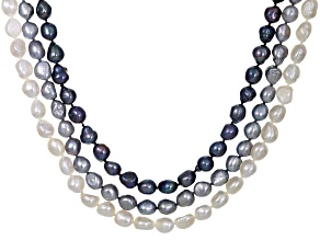 Cultured Freshwater Pearl Endless Strand Necklace Set Of 3 10-11mm