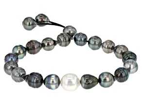 Cultured Tahitian And White South Sea Pearl Bracelet 8-10mm