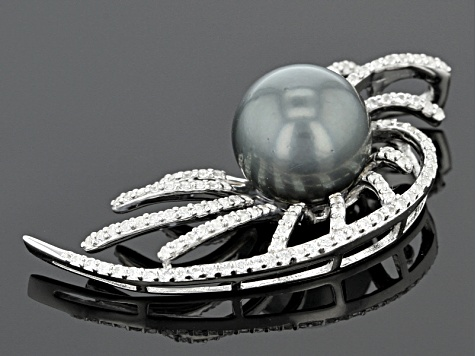 Cultured Tahitian Pearl With White Zircon Rhodium Over Silver Pendant 12mm