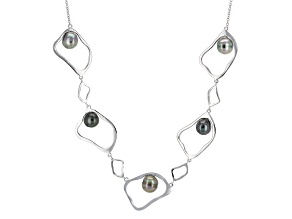 Cultured Tahitian Pearl Rhodium Over Sterling Silver Necklace 8mm
