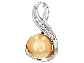 Cultured Golden South Sea Pearl With Diamond 14k White Gold Pendant 10-11mm