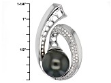Cultured Tahitian Pearl With White Zircon Rhodium Over Silver Pendant 11mm