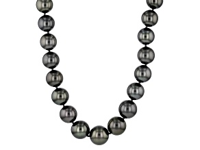 Cultured Tahitian Pearl 14k White Gold Strand Necklace 10-12mm