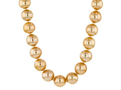cab7ec554da73 Cultured Golden South Sea Pearl 14k Yellow Gold Strand Necklace 10-11mm