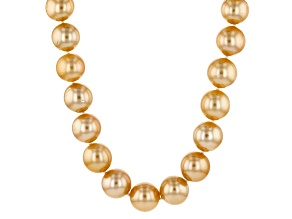 Cultured Golden South Sea Pearl 14k Yellow Gold Strand Necklace 10-11mm