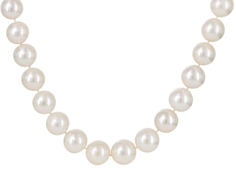 Cultured Freshwater Pearl Rhodium Over Silver Necklace 11-14mm