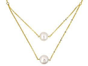 Cultured Freshwater Pearl 10k Yellow Gold Necklace 12-13mm