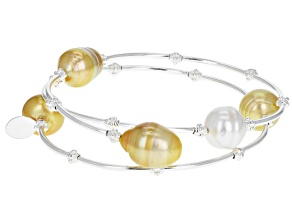 9-10mm Cultured South Sea Pearl Sterling Silver Memory Wire Bracelet