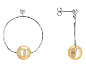 Cultured South Sea Pearl Rhodium Over Sterling Silver Earrings 10mm