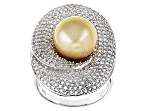 Cultured Golden South Sea Pearl With Topaz Rhodium Over Sterling Silver Ring 10mm