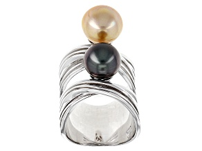 Cultured South Sea And Tahitian Pearl Rhodium Over Sterling Silver Ring