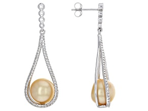 Cultured South Sea Pearl With Topaz Rhodium Over Sterling Silver Earrings 10mm