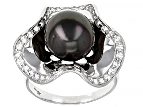 Cultured Tahitian Pearl With Topaz Rhodium Over Sterling Silver Ring