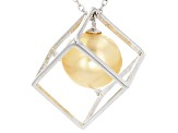 Cultured South Sea Pearl Rhodium Over Sterling Silver Necklace 11-12mm