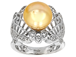 Cultured South Sea Pearl With Topaz Rhodium Over Sterling Silver Ring 10mm