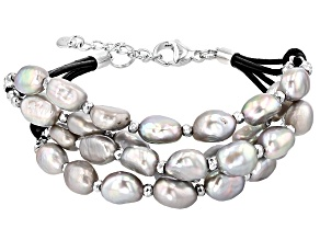 Cultured Freshwater Pearl With Hematine Rhodium Over Silver Bracelet