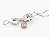 Wish Pearl, Cultured Freshwater Pearl Rhodium Over Silver Cage Pendant