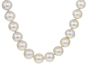 Cultured South Sea Pearl Rhodium Over Sterling Silver Necklace