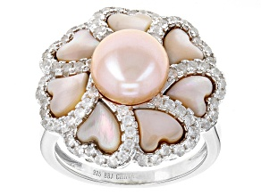 Cultured Freshwater Pearl With Mother-Of-Pearl, Zircon Rhodium Over Silver Ring