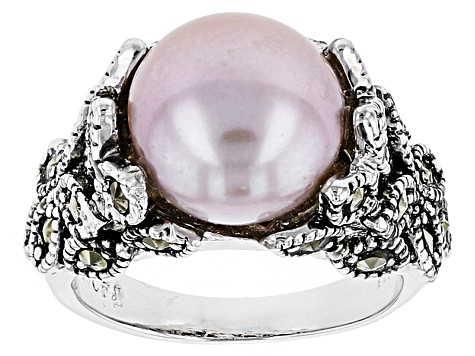 Genuine Mother of Pearl and Marcasite Statement Ring in Rhodium