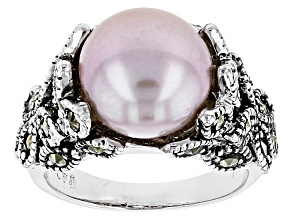 Cultured Freshwater Pearl With Marcasite Rhodium Over Silver Ring 9.5-10mm