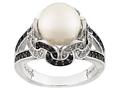 Cultured Freshwater Pearl With Spinel And Zircon Rhodium Over Silver Ring