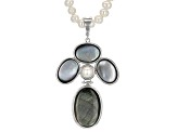 Cultured Freshwater Pearl And Mother-Of-Pearl Rhodium Over Silver Enhancher With Necklace