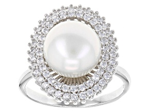 White Cultured Freshwater Pearl With White Diamond Simulant Rhodium Over Silver Ring