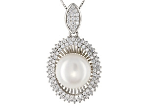 Cultured Freshwater Pearl With Cubic Zirconia Rhodium Over Silver Pendant With Chain 11-12mm