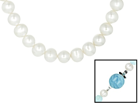 Cultured Freshwater Pearl With Aquamarine Rhodium Over Silver Necklace