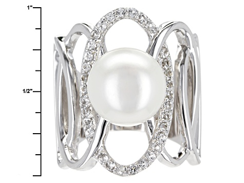Cultured Freshwater Pearl With Topaz Rhodium Over Sterling Silver Ring