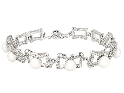 Cultured Freshwater Pearl With Bella Luce® Rhodium Over Silver Bracelet