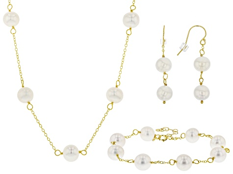 Cultured Freshwater Pearl 18k Yellow Gold Over Silver Necklace Bracelet Earring Set