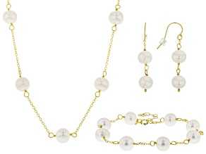 Cultured Freshwater Pearl 18k Yellow Gold Over Silver Necklace, Bracelet, Earring Set