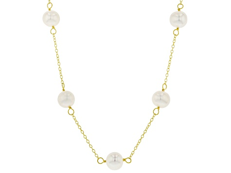 6fb9106038086 Cultured Freshwater Pearl 18k Yellow Gold Over Silver Necklace, Bracelet,  Earring Set