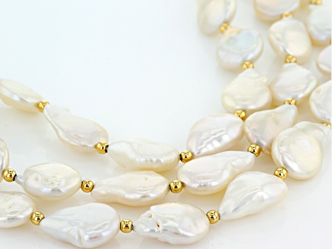 Cultured Freshwater Pearl 18kt Yellow Gold Over Silver Leather Cord Necklace