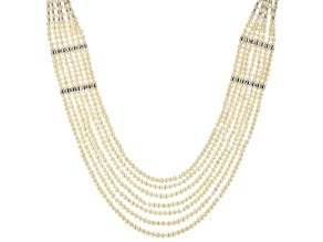 Cultured Freshwater Pearl Rhodium Over Silver Necklace 3-4.5mm/8-8.5mm