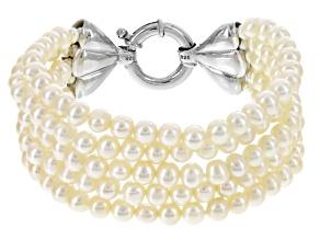 Cultured Freshwater Pearl Rhodium Over Silver Multi-Strand Bracelet