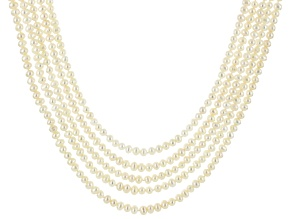 Cultured Freshwater Pearl Rhodium Over Silver Multi-Strand Necklace 4-5.5mm