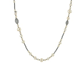 Cultured Freshwater Pearl With Bella Luce®, Hematine Rhodium Over Silver Necklace 5-11.5mm