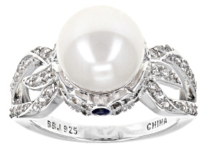 Cultured Freshwater Pearl With Saphhire, Zircon Rhodium Over Silver Ring 9.5-10mm