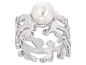 Cultured Freshwater Pearl Rhodium Over Silver Ring