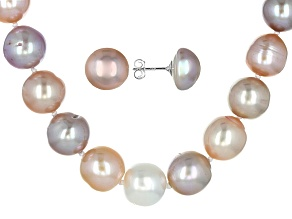 Cultured Freshwater Pearl Rhodium Over Silver Set 11-12mm