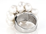 Cultured Freshwater Pearl Rhodium Over Silver Ring 6-7mm